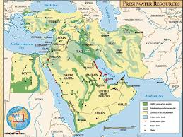 middle east map water bodies middle east human environment interaction ppt