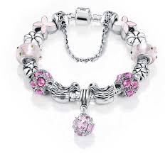 pandora glass bracelet images Pink pandora replica enamel flower glass bead silver charm bracelet jpg