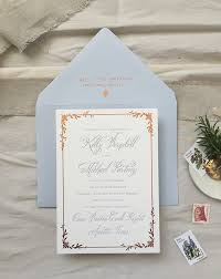 blue wedding invitations dusty blue letterpress and copper foil wedding invitations