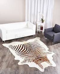 zebra print cowhide rug brown on white fursource com