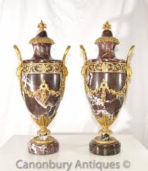 Decorative Urns Vases Pair French Empire Marble Ormolu Amphora Urns Decorative Amphora