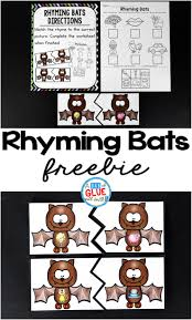 rhyming bats literacy center a dab of glue will do