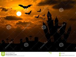 halloween night background castle silhouette in halloween night stock illustration image