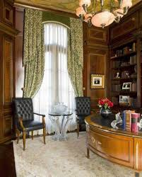 home office with upscale home decor wooden walls and curtains and