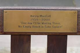 kirsty maccoll u2026an empty bench in soho square view from the mirror