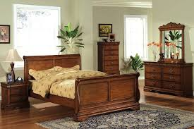 Venice II Dark Oak Solid Wood Sleigh Bed Frame - Dark wood queen bedroom sets