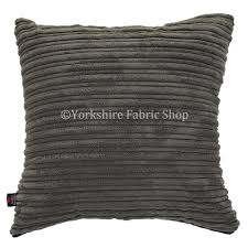 york soft corduroy fabric cushion in charcoal grey colour