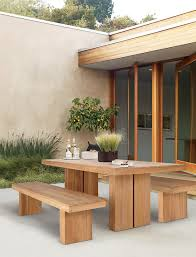 Outdoor Dining Set With Bench Kayu Teak Dining Table Design Within Reach