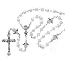 white rosary white pearl and pink angel rosary