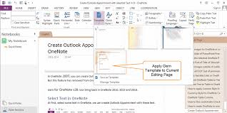 create onenote gem template apply template to current editing