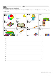 demonstrative pronouns this that these those worksheet free