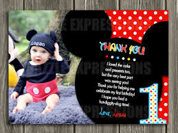 mickey mouse thank you cards printable mickey mouse photo thank you card birthday party