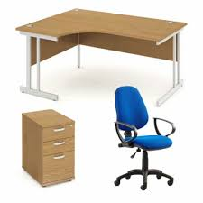 office desk with pedestal and office chair bundle