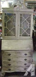 Antique White Desk With Hutch Curio Desk Hutch Cabinet Antique White Color For Sale