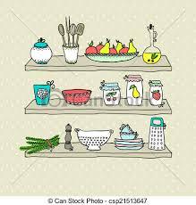 dessins cuisine ustensiles croquis étagères dessin cuisine croquis vecteur