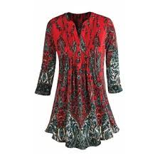 tunic blouse s tunic top pleated paisley 3 4 sleeve printed blouse