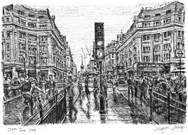 oxford street in the rain original drawings prints and limited
