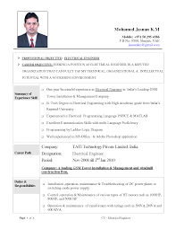 Resume Format Pdf Engineering Freshers by Format Resume Format For Electrical Engineers