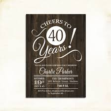 40th birthday invitation any age rustic invite cheers to 40