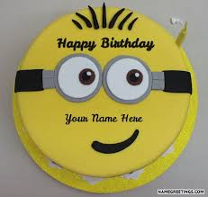 create minions happy birthday cake with name