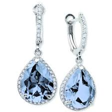 serenity earrings pear drop blue quartz earrings finished in platinum