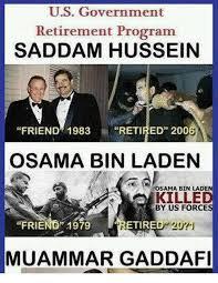 Gaddafi Meme - us government retirement program saddam hussein friend 1983 retired
