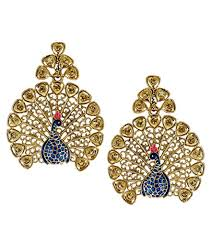 peacock design earrings in gold zaveri pearls glittering peacock design stud earring zpfk5456 at
