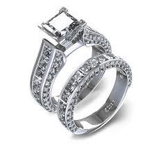 princess cut wedding set set princess cut diamond wedding set in 14k white gold