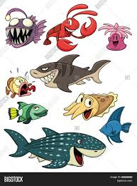 cute cartoon sea creatures all vector u0026 photo bigstock