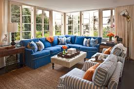 Blue Ticking Curtains Ticking Fabric Living Room With Blue And White Blue Chair