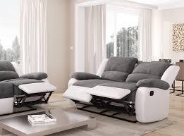 canapé relax simili cuir canapé relaxation 2 places microfibre grise simili cuir blanc