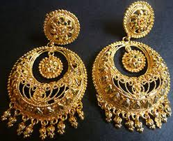 chandbali earrings south indian 22k gold plated chand bali jhumka jhumki drop fashion