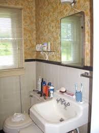 simple bathroom makeovers with brown snugy ugly wallpaper on