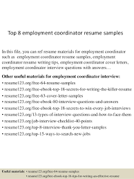 Employment Resume Examples by Top 8 Employment Coordinator Resume Samples 1 638 Jpg Cb U003d1431326781