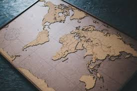Map Of The World Art by Big Lasercut And Handmade Cork World Map Wall Art With Wood