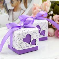 favor ribbons purple heart cutouts boxes wedding favors baby shower square