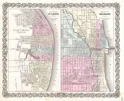 City Of Chicago Map by File 1855 Colton Plan Or Map Of Chicago Illinois And St Louis