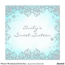 Sweet 16 Invitation Cards Winter Wonderland Swirl Snowflakes Sweet 16 Card Winter Wonderland