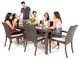 Glass Round Dining Table For 6 Modern Wicker Style Glass Topped Dining Table Seats 6 People In