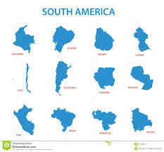 Country Map Of South America by South America Maps Of Countries Vector Stock Vector Image