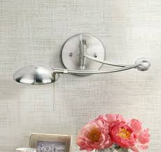 brushed steel halogen plug in swing arm wall lamp wall sconces