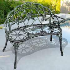 outdoor cast aluminum patio bench antique rose outdoor benches