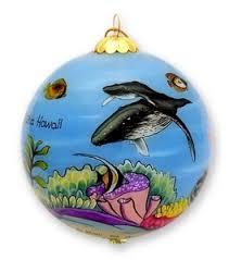 buns of maui hawaii painted glass christmas ornament humpback