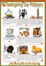 esl worksheets thanksgiving pictionary