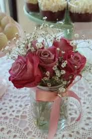 Baby Shower Flower Centerpieces Mixed Floral Arrangement In A Ball Glass Jar I Have A Ton Of