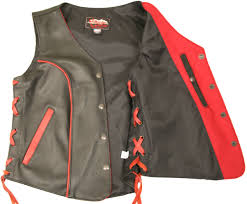 red motorcycle jacket women u0027s red trim biker vest