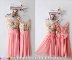 coral and gold bridesmaid dresses coral chiffon gold lace sequined v neck sleeves knee length