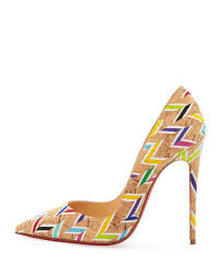 christian louboutin so kate printed cork pumps in natural lyst