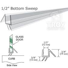 Shower Door Bottom Sweep With Drip Rail 36 Clear Bottom Sweep With Drip Rail For 1 2 Glass Shower Doors