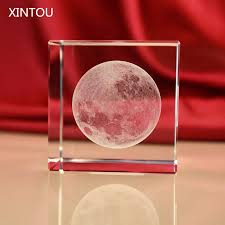 Pink Glass Desk Aliexpress Com Buy Xintou Crystal Glass Cube Moon Paperweight